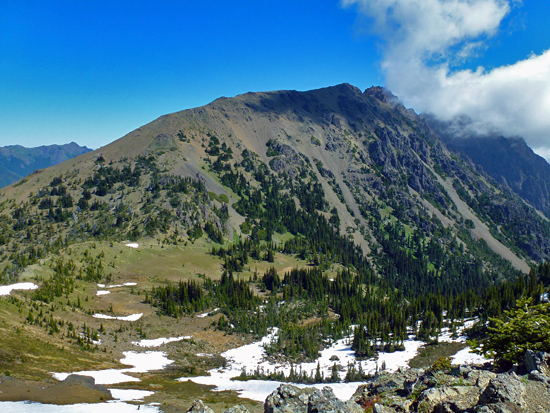 Looking down on Marmot Pass
